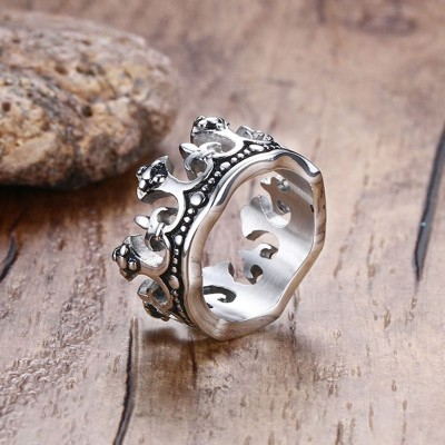 Mens Vintage Gothic Crown Rings Vintage Silver color Stainless Steel Metal USA Size
