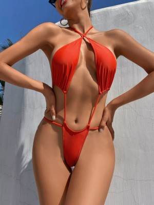 Sexy Thong Swimwear Women One Piece Swimsuit Female Halter Bathing Suit Hollow Out Monokini Swimming Suit Beach Red Swimsuit