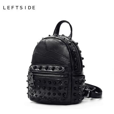 Black Mini Backpacks for women's Lady's Back packs PU Leather Bags Fashion Travel Bag For High School girls