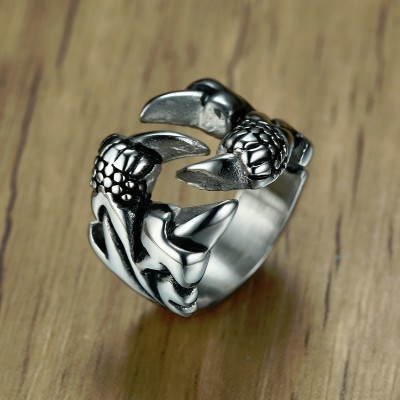 Dragon Claw and Nail Rings for Men Stainless Steel Vintage Silver Tone Trendy Biker Male Jewelry Anillos Hombre