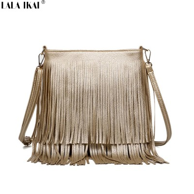 LALA IKAI New Fashion Fringe Bag Gold Crossbody Bags Classic Women Shoulder Bags Casual Tote with Tassels Messenger BWB0885-45
