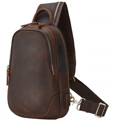 Brand Hot Sale Mens Leather Sling Bag Vintage Chest Shoulder Bags Casual Crossbody Backpack with USB Charging Port