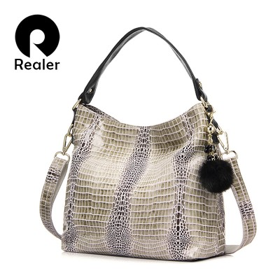 REALER brand genuine leather crocodile bags for women shoulder bag large  tote bag with a fur 61a9dd6a6ce2c