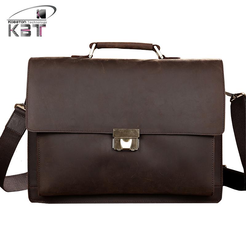 ae6235237aa7 ... Classic Retro 14 Laptop Business Briefcase Crazy Horse Genuine Leather  Men s Handbag Messenger Bag Cross Body Shoulder Bags. Image 1