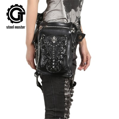 Steampunk Gothic Waist Bag Retro Rock Shoulder Bag for Women Men Vintage Leather Leg Bag Hip Holster Waist Bags 2019 New Arrival