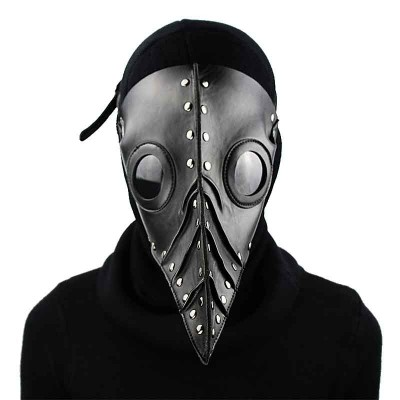 Black PU Leather Steampunk Mask Gothic Plague Doctor Long Beaks Bird Retro Rock Punk Party Masks Halloween Cosplay Accessories
