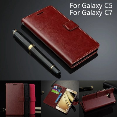 Leather Flip Case For Samsung Galaxy C5 C5000 Wallet Card Holder Case Cover For Samsung Galaxy C7 Ultra Thin Leather Phone Case
