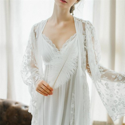 Sexy Robe Set Two Pieces Spaghetti Strap Deep V Neck White Cotton Sleepwear Lace Bathrobe Set Luxury Nightgown Long Negligee