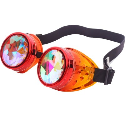FLORATA Steampunk Goggles Kaleidoscope Rainbow Crystal Lenses Cosplay Vintage Glasses Welding Men Women Gothic Cool Eyewear