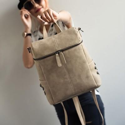 Simple Style Backpack Women Leather Backpacks For Teenage Girls School Bags Fashion Vintage Solid Black Shoulder Bag Youth