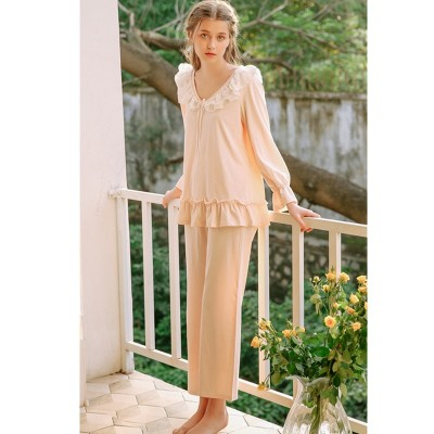 2019 Spring Pajama Set Vintage Cotton Sleepwear Women Lace Ruffled Long Sleeve Pyjama Femme Night Wear Home Suit Lounge Set