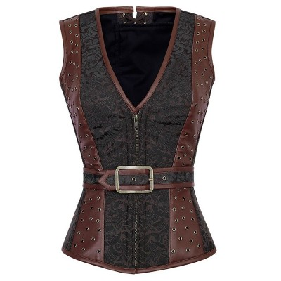 Gothic Bustier Fashion Steampunk Brocade Jacket Corset Espartilho Sexy Faux Leather V-Neck Front Zipper Corset Lace Up Back
