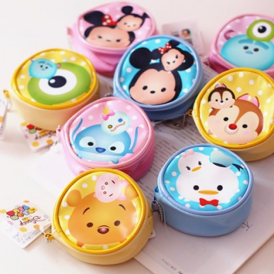 24pcslot Tsum Tsum Coin Purse Cartoon Wallet Bag Key Pouch for Kids Gifts