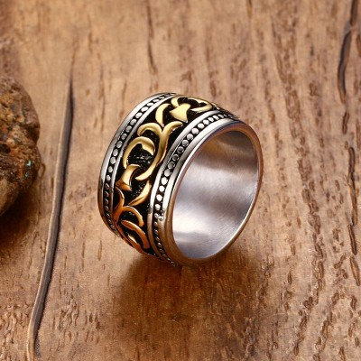 Filigree Finger Tri Color Vine Ring Men Bike Wedding Band Vintage Punk Unisex Stainless Steel Jewelry anel masculino Anillos
