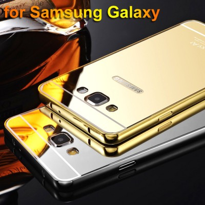 Phone Case For Samsung Galaxy A3 A5 A7 J3 J5 J7 Grand Prime C5 C7 G530 Plating Aluminum Frame+Mirror Cover For Samsung S3 S4 S5
