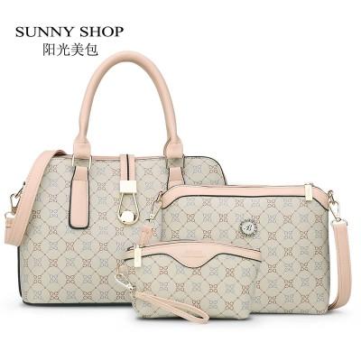 SUNNY SHOP3 BagSet New Mother Handbag Brand Designer Women Bag Letter Striped Fashion Femal Bags Shoulder Bags Gift For Mother