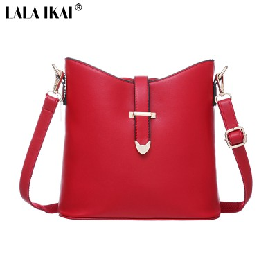 LALA IKAI 2019 Leather Bucket Bags Fashion Women Messenger Bags Famous Brand Shoulder Bag Ladies Casual Tote Crossbody BWB0594-5