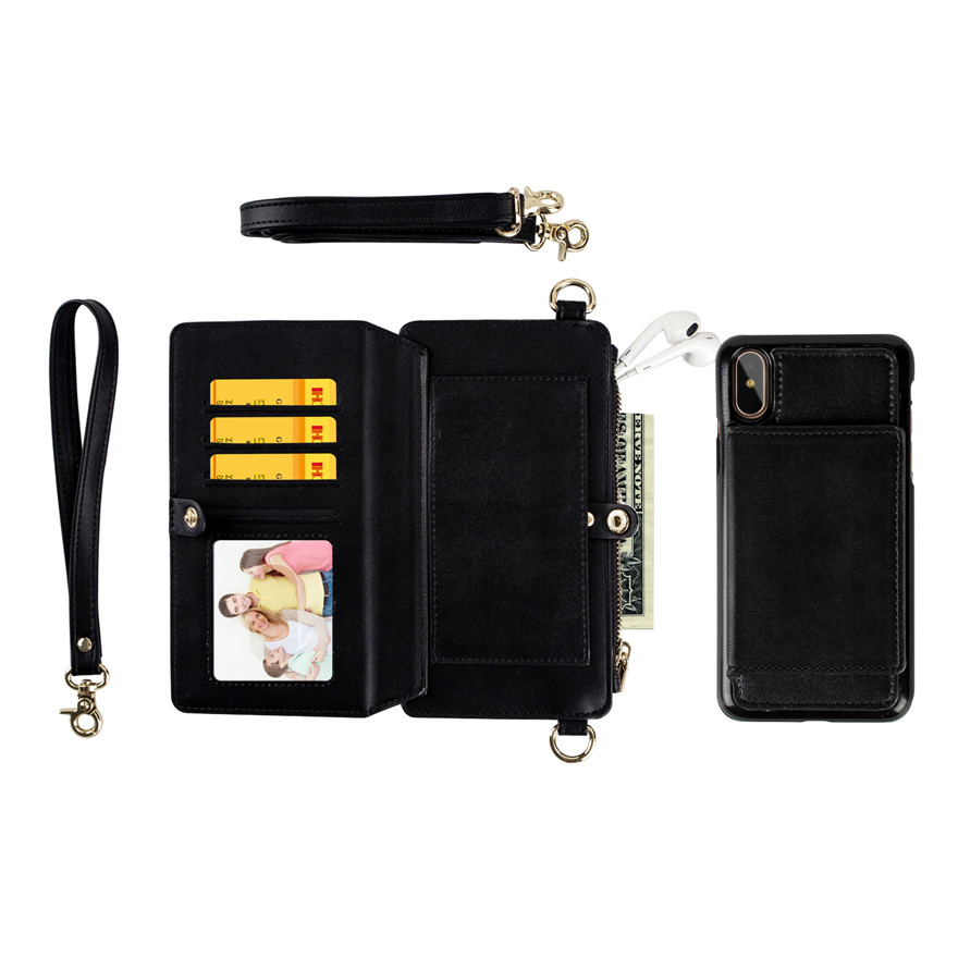 Black Purse and Phone Case Bag Multi-function Phone case Messenger Bag for Iphone 6/6s/6 plus/6s plus/7 plus/8 plus/ 7/8/x Samsung s8/s8 plus Cell Phone Bag with Shoulder Strap Small Phone Bag Cell Phone Pouch Purse Purse with Phone Holder