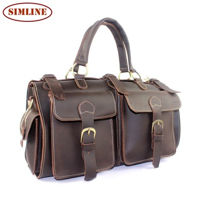Brand Vintage 100% Real Genuine Cowhide Crazy Horse Leather Men Large Travel Duffle Handbag Messenger Shoulder Bag Bags For Men