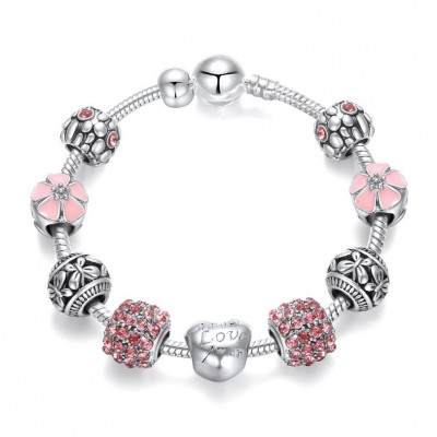 2020 NEW Trendy 925 Silver Beads Charms Bracelet Pink Flower Floral Crystal Charm Bracelet Bangle Women Fashion Jewelry