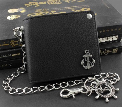 Anchor Genuine Leather Biker Punk Mens Boys Money Wallet Purse W Chain