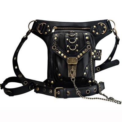 Hot sale PU Leather Punk Retro Rock Gothic Shoulder Bags Men women Leather Waist Fanny Pack Female Messenger Holster Leg Bag