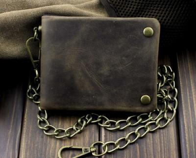 Tow Brass Snap Button Men Biker Rock Case Cilp Wallet With Chain