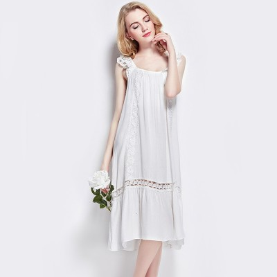 Female summer cotton solid Nightgown cute girl dress 100% Cotton Princess Womens Sleepwear Ladies