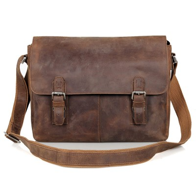 2017 New Arrival Real Flap Cotton Vintage Crazy Horse Genuine Leather Men Messenger Bags Cowhide Shoulder Bag Crossbody Male