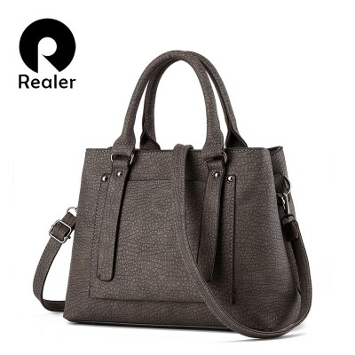REALER brand design handbag women fashion black tote bag high quality PU leather shoulder bags female solid elegant OL handbag