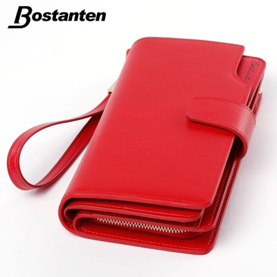 Bostanten Real Genuine Leather Women Wallets Brand Design High Quality 2019 Cell phone Card Holder Long Lady Wallet Purse Clutch