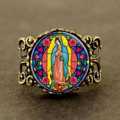 Steampunk Our Lady of Guadalupe Virgin Mary Sacred Heart Religious Stained Glass Bezel Art Ring jewelry new