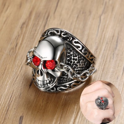 Mens Stainless Steel SKULL RING with Chained Red Eyes Bands Punk Biker Male Halloween Jewellery Anel Aneis Masculinos Anillos