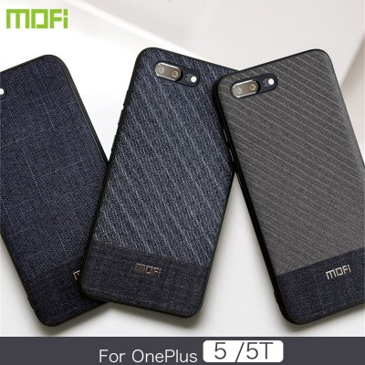 Mofi Oneplus 5 Phone Case & Back Cover Oneplus 5T Case & Back Cover Dark Color Gentleman Business Style Handcraft Fabric Cloth Cross Grain Oneplus 5 5T Back Cover