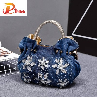 Rhinestone Handbags Designer Denim Handbags 2019 Woman Denim Handbags Bags Vintage Luxury Rhinestone Shoulder Bags Women's Small Bags Jean For Women