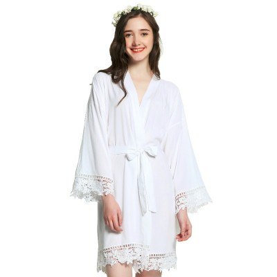 2019 Solid Cotton Kimono Robes with Lace Trim Women Wedding Bridal Short Belt Bath Robe Sleepwear 7 Colors Night Robe Clothes