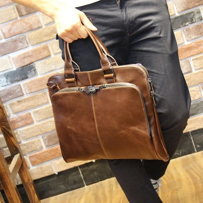 New 2017 Fashion Men handbag Leather Mens shoulder Bag Crazy Horse Business Men's messenger Laptop bag casual men Briefcase