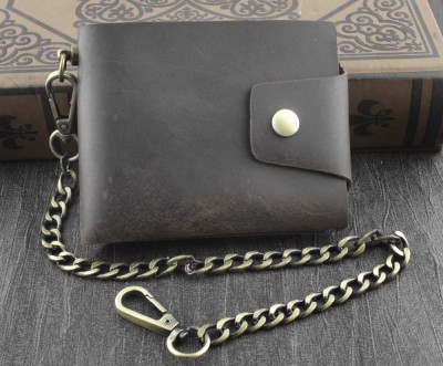 Mens Biker Vintage Leather Card Money Holder Snap Wallet Purse W Brass Chain B7