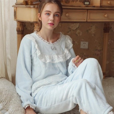 Winter Pajama Set Sleepwear Women Night Wear Home Suit Pyjama Femme Vintage Nightwear Pijama Velvet Fabric Robe Gown Set