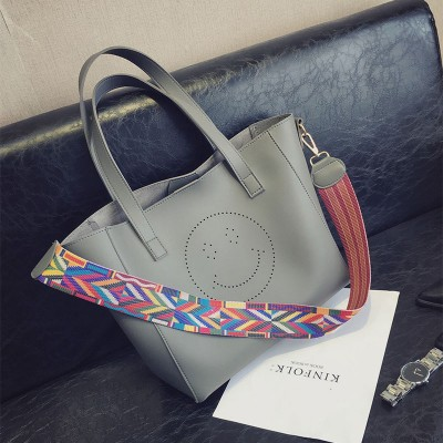 Luxury Handbags Women Bags Designer Pu Leather Bag Smile Casual Tote Bag Set Famous Brand Women Shoulder Bags Sac a main Retro