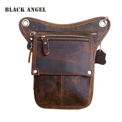 COOL Fanny Pack Special Men leg bag Vintage real genuine leather waist pack bag mens Casual fanny pack bag camera bags