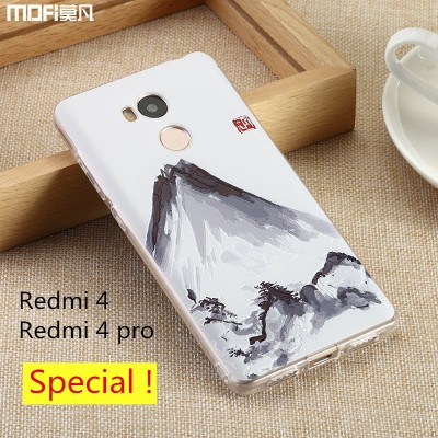 Redmi 4 pro case cover redmi 4 case Xiaomi Mi Redmi 4 case pattern soft TPU back cover MOFi original 3D relief fawn cat mountain