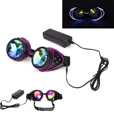 FLORATA Steampunk Goggles Welding Cyber Illuminated Punk Goggles Retro Gothic kaleidoscope Colorful Lens Cosplay Eyewear
