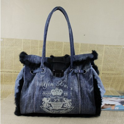 Vintage Denim Shoulder Handbags Fashion Simple Vintage Jeans Denim Women Bags HandBags Girls purse Shoulder Shopping Bag Totes