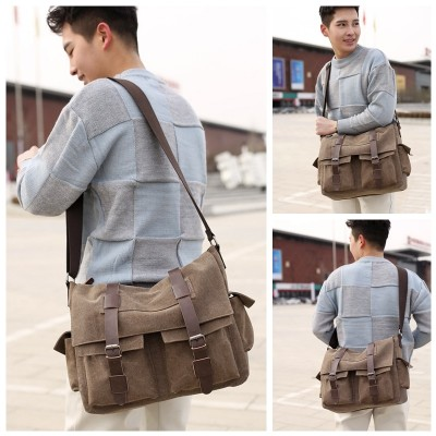 Practical Business Messenger Bags For Men Student A++ Canvas Crossbody Shoulder Pack Retro Solid Casual Office Travel Bag