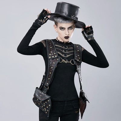 Original Gothic Steampunk Unique backpack cool bag steampunk fashion Armour Vest Bag Leather Armor Costume