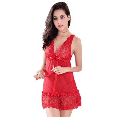 Hot Women Sexy Nightwear Plus Size S~XXL Lace Nightgown Sleepwear Dress G-String Sexy Lingerie Robe Sexy AP280 Drop Shipping