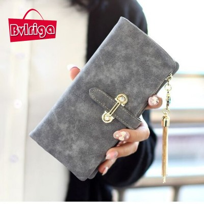 BVLRIGA Nubuck leather Women wallets famous brand Short purses bag high quality money clip tassel casual designer zipper clutch