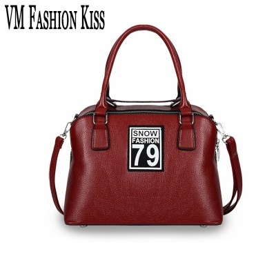 VM FASHION KISS Brand Women Shell Bag Pu Leather Tote Lichee Pattern Letter Shoulder Bags Elegant Handbags Messenger Crossbody