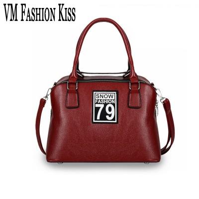 VM FASHION KISS Brand Women Shell Bag Pu Leather Tote Lichee Pattern Letter Shoulder Bags Elegant Handbags Messenger Crossbody